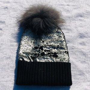 BARI LYNN**Color Changing Sequin Genuine Fur Pom
